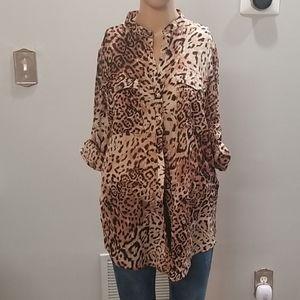 Zara safari leopard print shirt